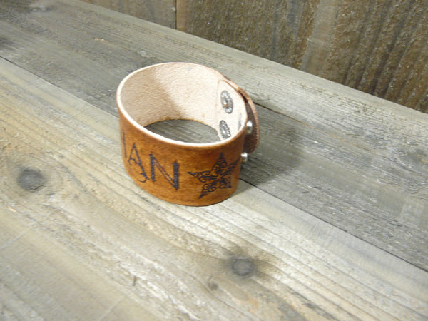Personalized Magical Font & Elvish Stars Leather Cuff Bracelet - Laser Engraved Adjustable Men Women