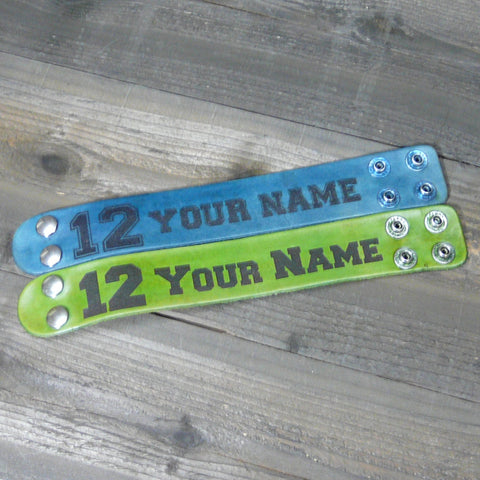 Personalized Football 12th Man Player Leather Cuff Bracelet - Laser Burned Adjustable