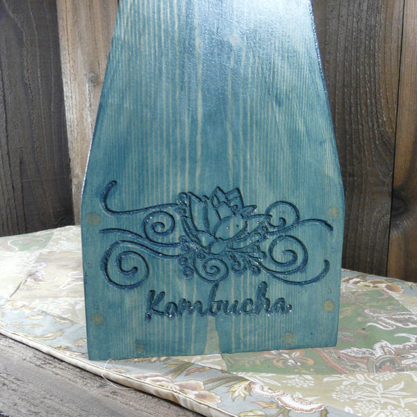 Kombucha Lotus Flower Growler Carrier Crate - Engraved Pine Wood
