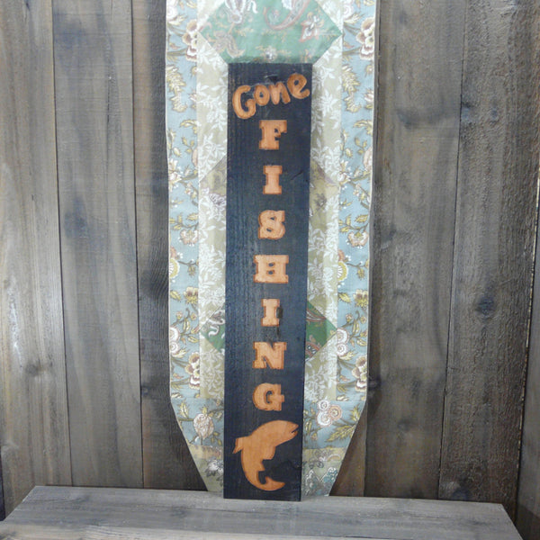 Gone Fishing Rustic Weathered Wood Sign - Carved Engraved Cedar Wood