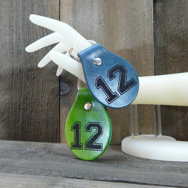 Seattle 12th Man Player Leather Key Ring - Football Fan - Laser Burned Keychain