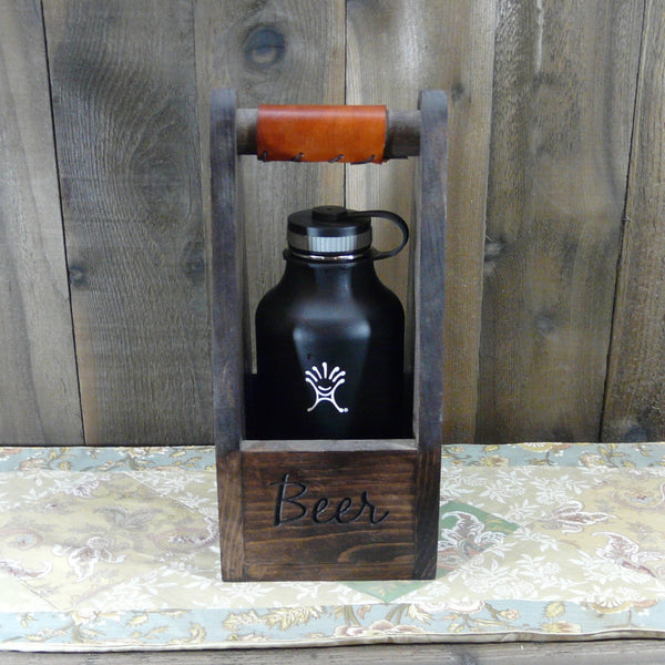 Weekend Brew Mountain Scene Single Growler Carrier Crate - Engraved Pine Wood Leather Grip
