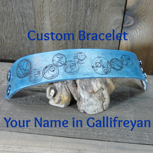 Custom Name in Gallifreyan Leather Cuff Bracelet - Dr Who - Laser Engraved Adjustable Men Women