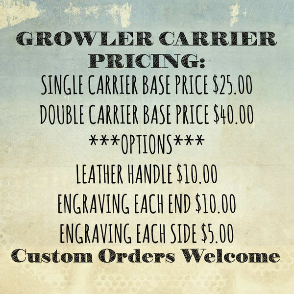 Snow Brews Snowboard Double Growler Carrier Holder Crate - Engraved Pine Wood