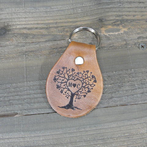 Love Tree Leather Key Fob - Custom Initials  - Key Chain Brown Tan Leather