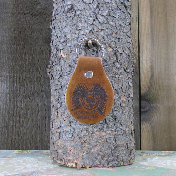 Twin Peaks Owl Leather Key Chain Fob - The Owls are Not What They Seem