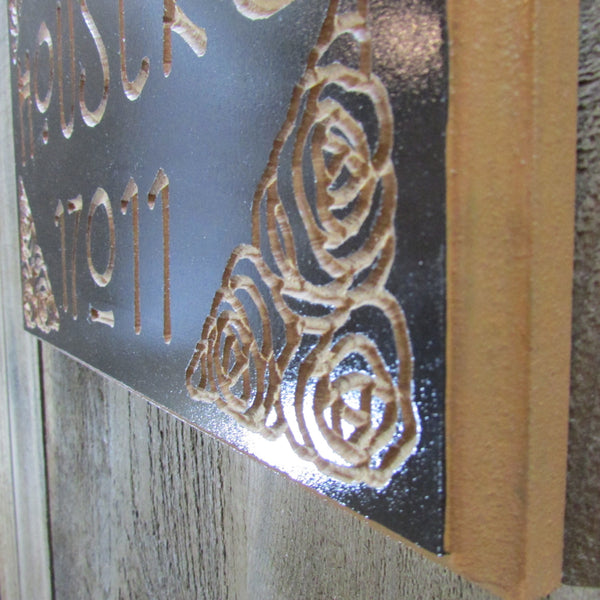 Custom Name Address Sign Plaque Rennie Mackintosh - Chocolate Brown Painted Engraved MDF Wood