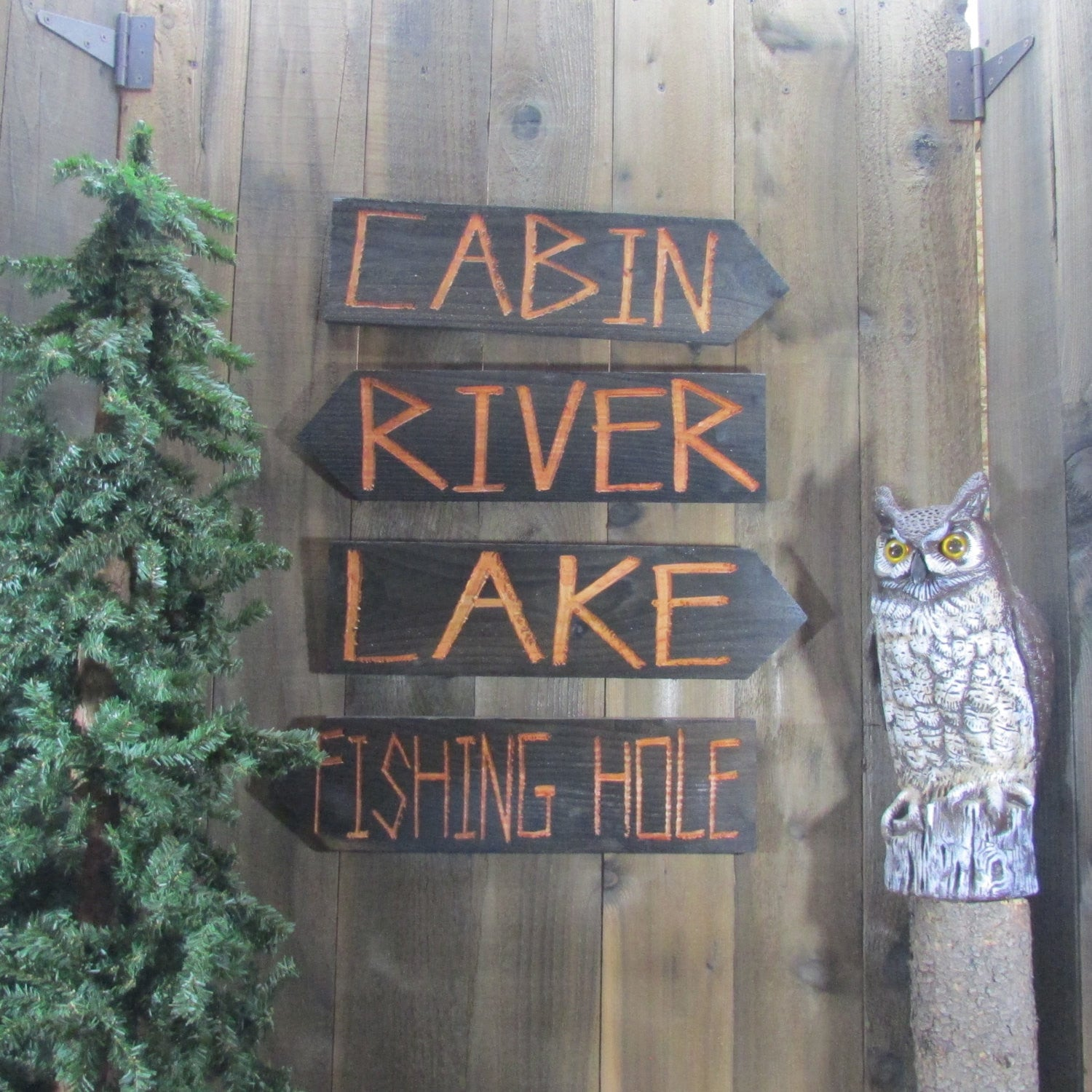 Cabin River Lake Fishing Hole Directional Lawn Ornament Sign - Carved Cedar Wood