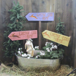 Easter Egg Hunt Lawn Ornament Directional Sign - Carved Cedar Wood