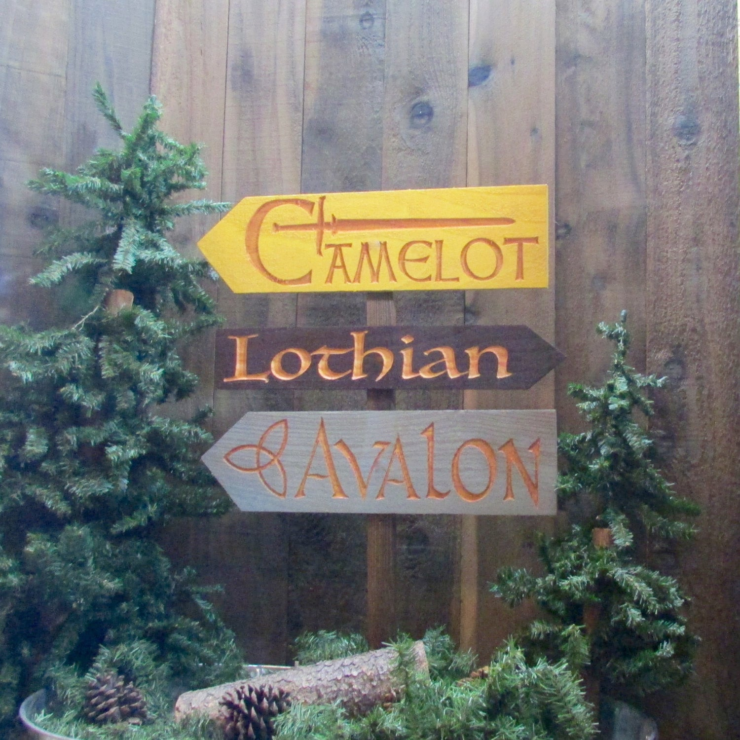 King Arthur Fantasy Story Signs - Camelot Avalon Lothian  - Cedar Wood Directional Signs