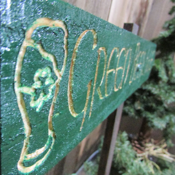 Green Beer Here Directional Sign - St Patrick's Patty's Day - Carved Cedar wood