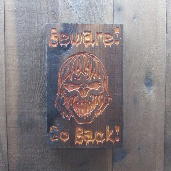 Beware Zombie!  Zombie Apocalypse Decoration - Weathered Cedar Wood Engraved Sign