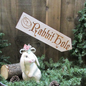 Rabbit Hole Alice in Wonderland Easter Lawn Ornament Sign - Decoration Cedar Wood