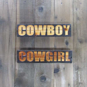 Cowboy and Cowgirl Restroom Bathroom Rustic Weathered Signs - Carved Cedar Wood Decor