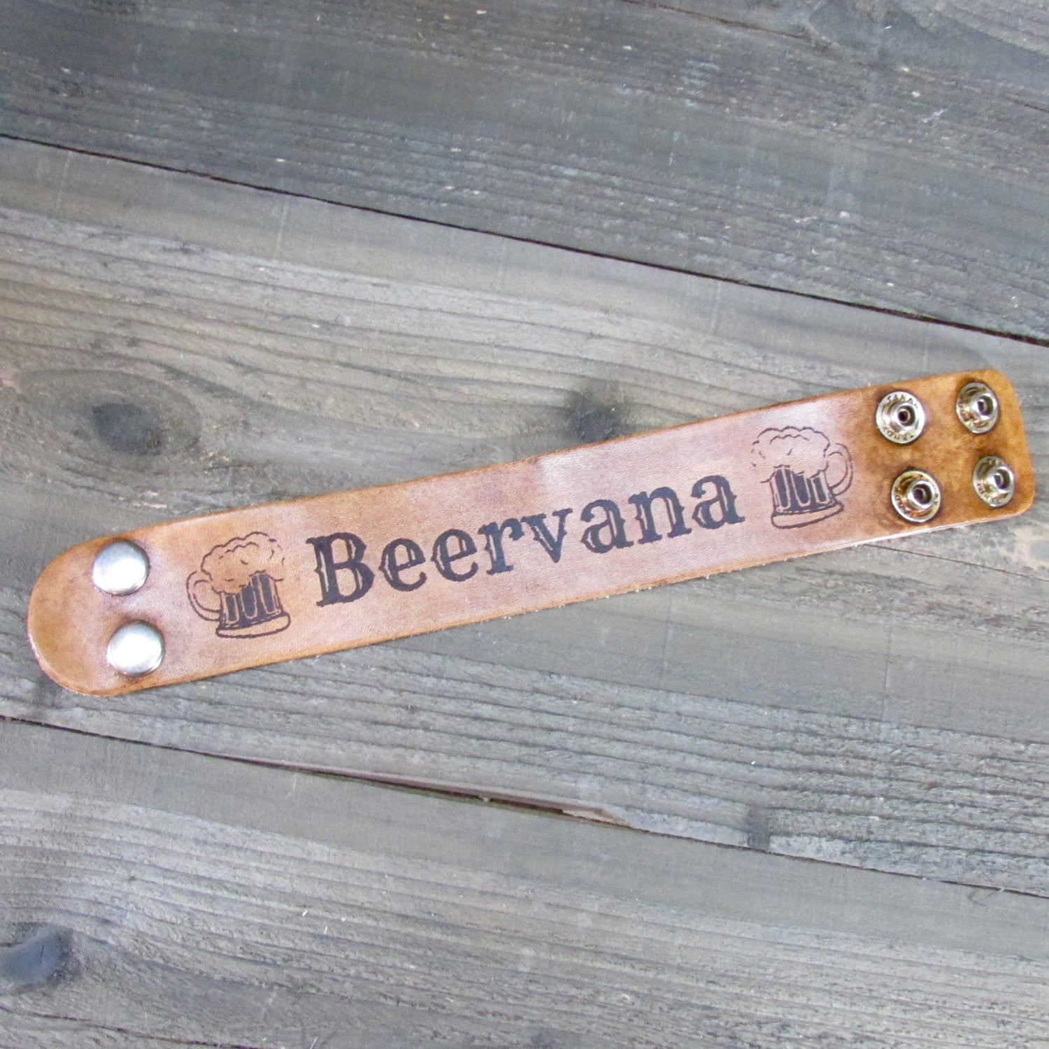 Beervana Cuff Bracelet - Laser Burned Adjustable Men Women Double Snap Closure