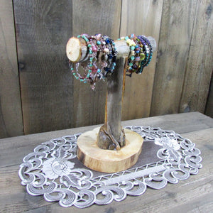 Bracelet Display T Bar Jewelry - Rustic Reclaimed Wood Lodgepole Pine Tree Limbs