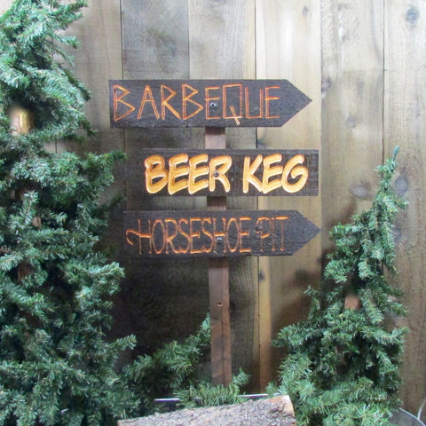 Family Barbecue Directional Lawn Ornament Directional Sign - BBQ Horseshoe Pit - Carved Cedar Wood