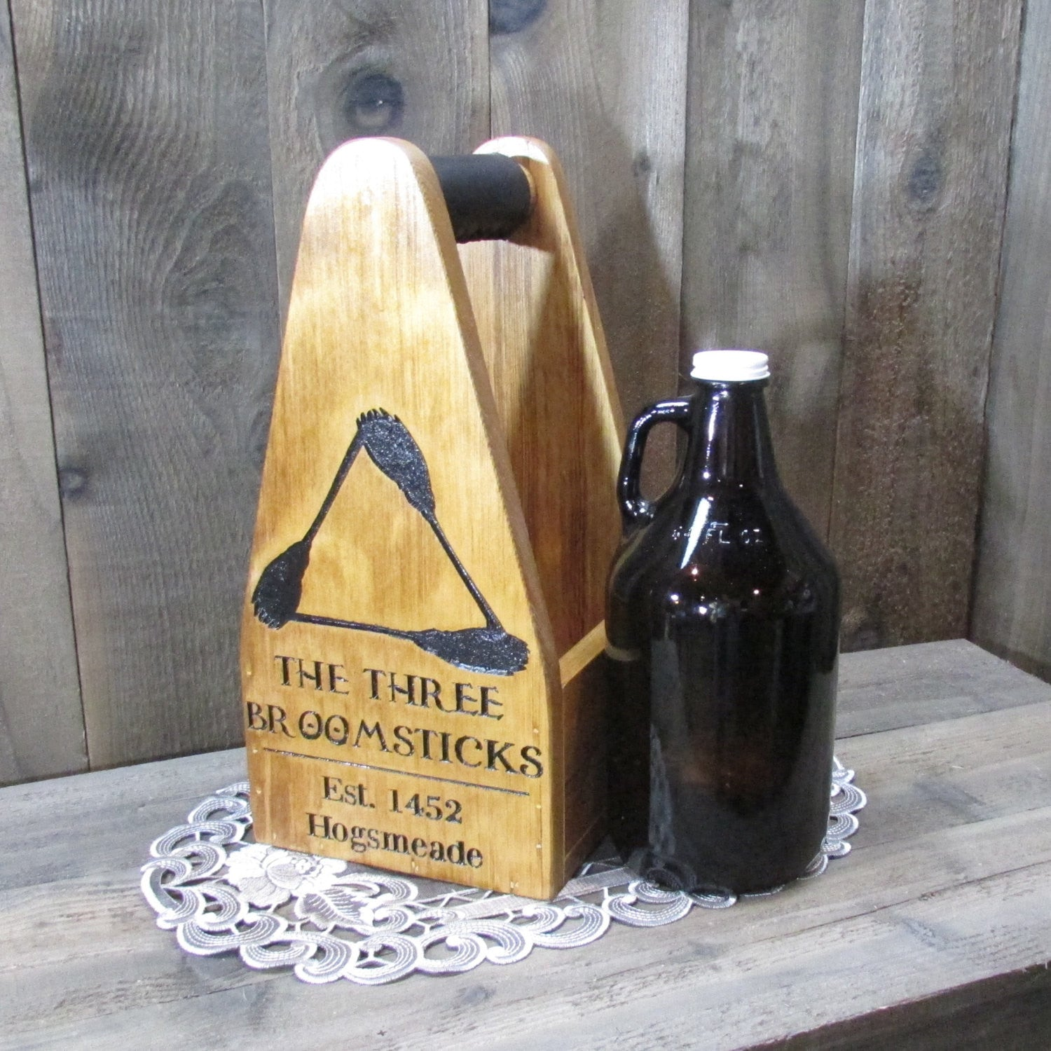 Beer Growler Carrier Crate - As Shown Holds One 64oz Growler - Other Sizes Available