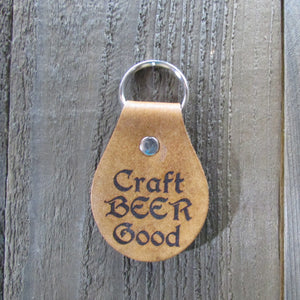 Craft Beer Good Key Leather Key Chain