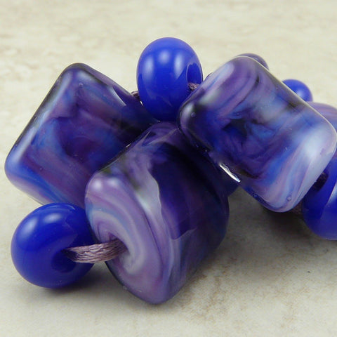 Xanadu Fantasy Purple - Lampwork Nugget Bead Set by Dragynsfyre Designs - SRA