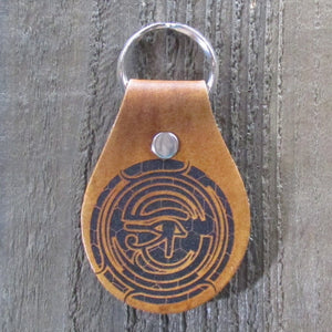 Egyptian Eye of Horus Key Chain Fob - Laser Engraved Brown Tan Leahter