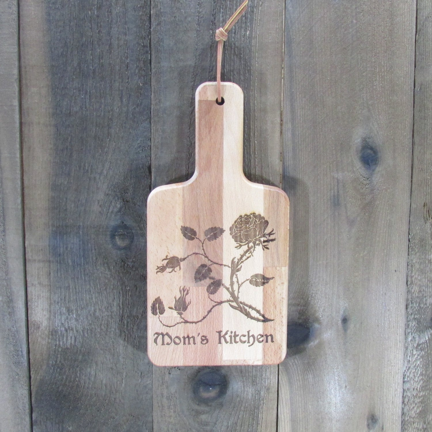 Mom's Kitchen Bamboo Cutting Board Rose Flower Wall Hanging - Laser Engraved Personalize