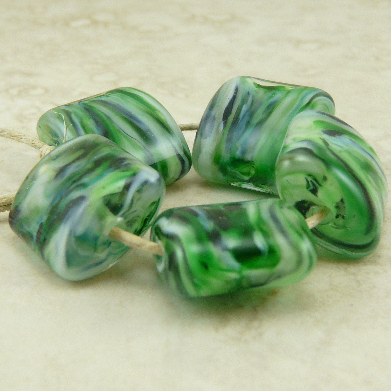 Pine Tree Forest - Lampwork Bead Set by Dragynsfyre Designs - SRA