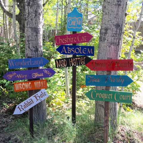 Alice in Wonderland Choose Your Own Sign or Set - Carved Cedar Wood Directional Signs