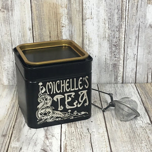 Personalized Art Nouveau Flower Tea Cannister