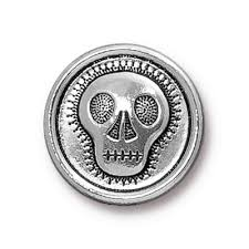 Skully Skull Buttons - Qty 3 Buttons - TierraCast Silver Plated LEAD FREE Pewter DC