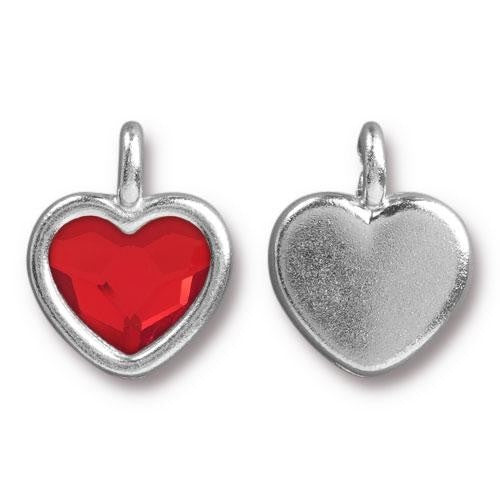 Siam Swarovski Crystal Heart Charms - Qty 1 - TierraCast Rhodium Silver Plated LEAD FREE Pewter DC