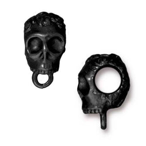 Rose Skull Large Bail - Qty 5 - TierraCast Black Ox Plated Lead Free Pewter DC