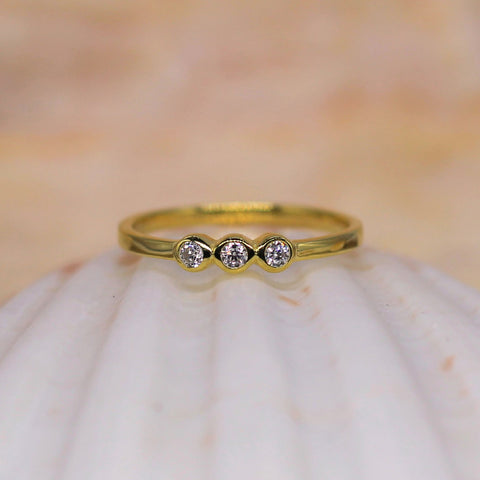 Spirit Sister Sterling Silver Ring Gold With Clear CZ