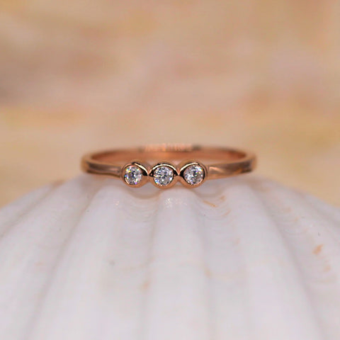 Spirit Sister Sterling Silver Ring Rose Gold With Clear CZ