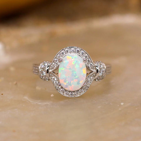 Opulence - Sterling Silver Ring with White Lab Opal