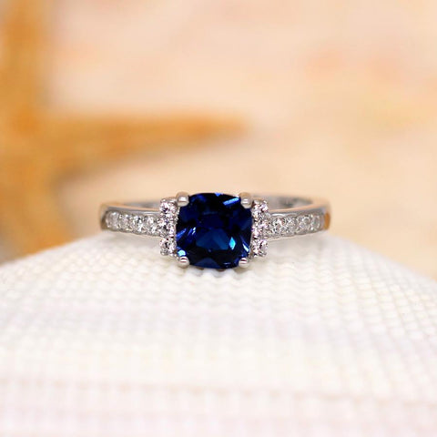 Begonia - Sterling Silver Ring with Cushion Blue CZ