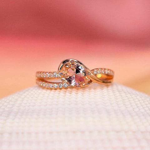Butterscotch - Sterling Silver Ring with Morganite CZ
