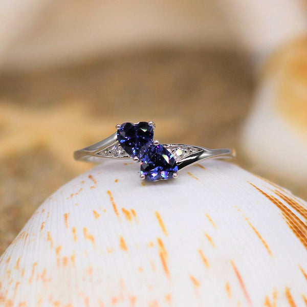 Forever Together - Sterling Silver Ring with Tanzanite CZ