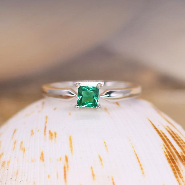 Envious - Sterling Silver Ring with Emerald CZ