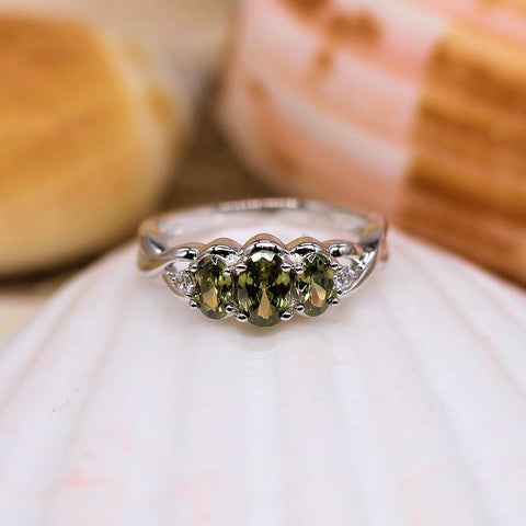 Lover's Treasure - Sterling Silver Ring with Triple Peridot CZ's