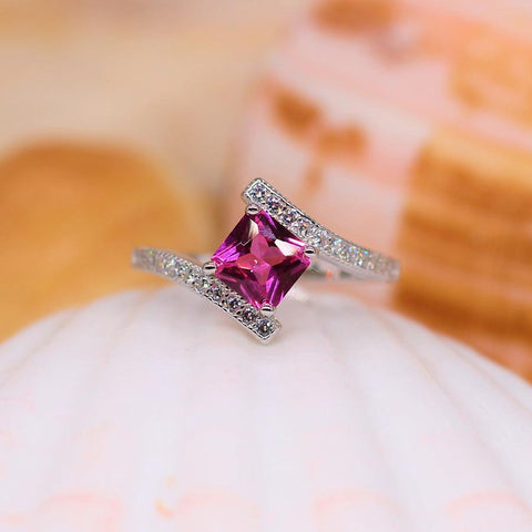 Crystal Dreams - Sterling Silver Ring with Pink CZ