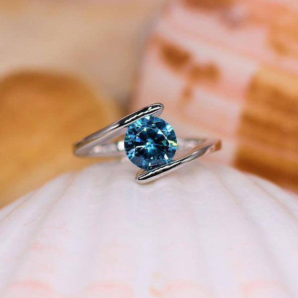 In Your Arms - Sterling Silver Ring with Aquamarine CZ