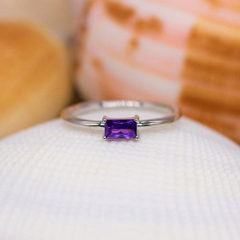 Goodnight Kiss - Sterling Silver Ring with Amethyst CZ