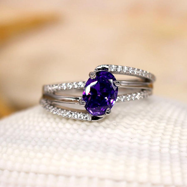 Purple Haze - Sterling Silver Ring with Amethyst CZ