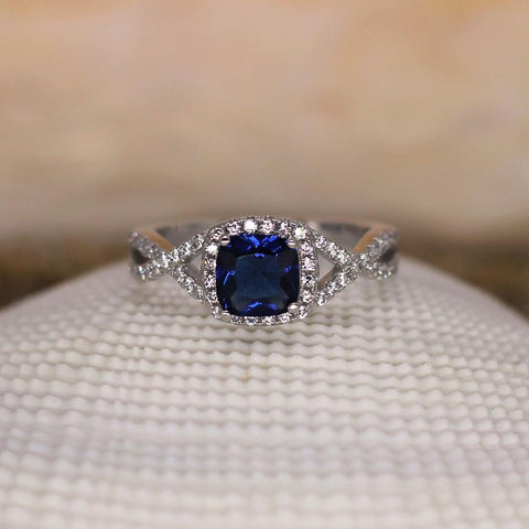 Elysium - Sterling Silver Ring with Blue Sapphire