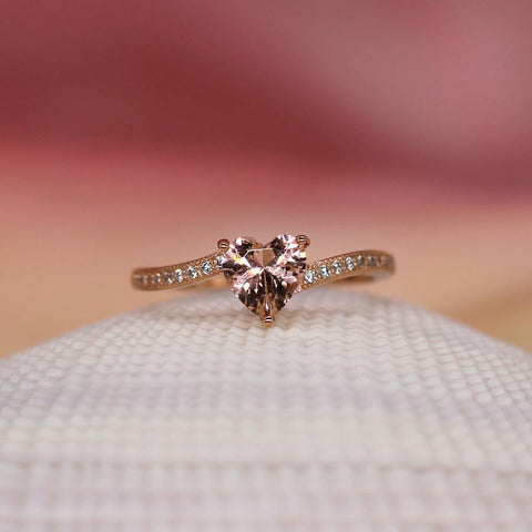 Kisses for Dessert - Sterling Silver Ring with Morganite CZ