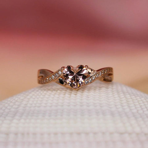 Kisses For Dessert (Double Band) - Sterling Silver Ring with Morganite CZ