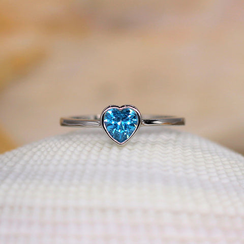 Heart Warming - Sterling Silver Ring with Blue Aquamarine CZ