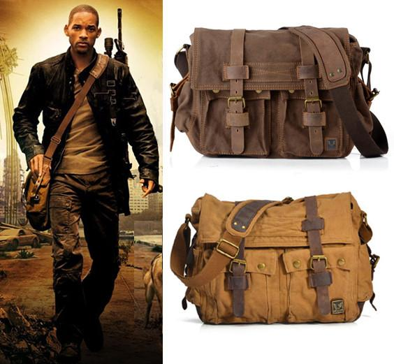 I AM LEGEND Will Smith military canvas + Genuine leather Men messenger bag canvas shoulder bag men Crossbody Bag Casual Bag 2018