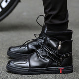 New Men Casual Shoes Justin Bieber Pu Leather Men High Top Plein Shoes Fashion Lace Up Breathable Hip Hop Shoes Men Black White - WFimports